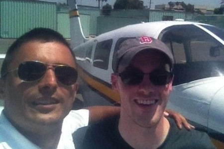Rory O'Connor first solo, photo with instructor Yaasca Rahelan